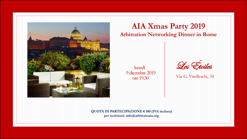 AIA Xmas Party Networking Dinner | Roma, 9 dicembre 2019